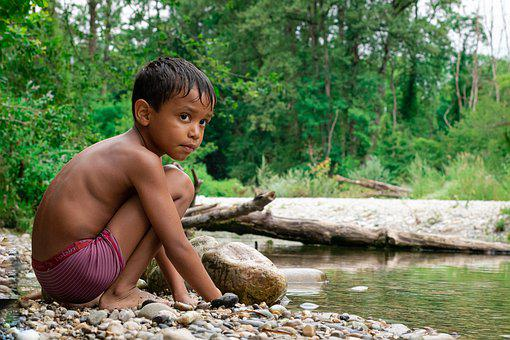 The Child, Child, Nature, Simplicity, Boy, Water