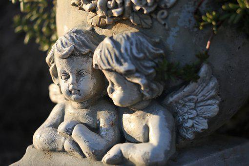 Two Angels, Wings, Statue, Stone, Sculpture, Decoration