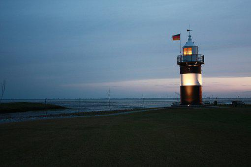 Lighthouse, Germany, Wremen, Blue Hour, Evening, Sky