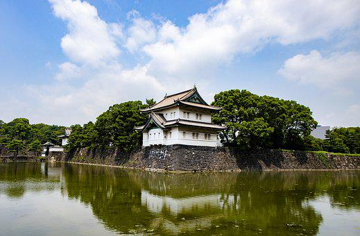 Palace, Japan, Water, Architecture, Osaka, Castle