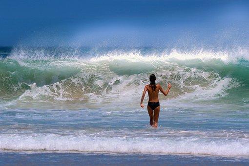 Ocean, Model, Wave, Sea, Topless, Girl, Beach, Woman