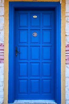Blue, Wood, Door, Building, Architecture, Beautiful