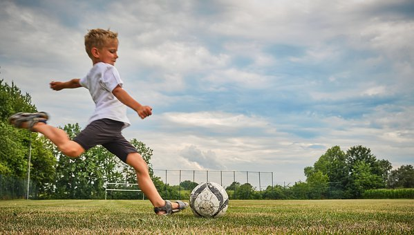 Football, Child, Shot, Play, Sport, Boy, Grass, Rush