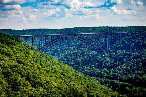 Bridge, Mountains, River, Landscape, Nature, Highway