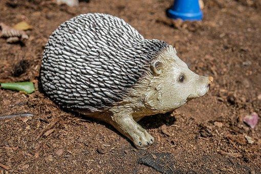 Hedgehog, Spikes, Closeup, Ornament, Figure, Garden