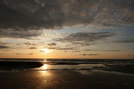 Sunset, Beach, Sea, Water, Coast, Sunrise, Clouds, Sand