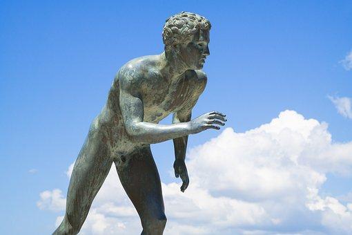 Runner, Sculpture, Statue, Achilleion, Corfu, Greece