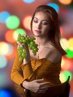 Girl, Grapes, Colors, Beauty, Eating, Fruit, Diet, Raw