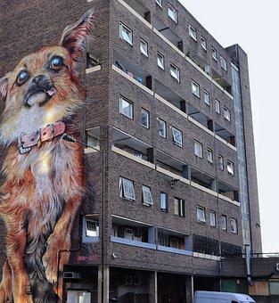 Graffiti, Dog, Wall, Artwork, Urban, Large, Irony Boe