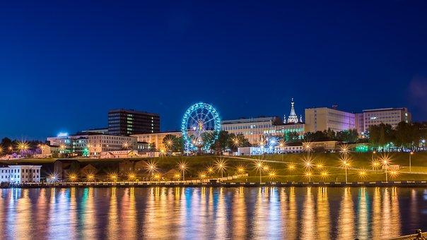 City, Evening, Night, Lights, Architecture, Horizon