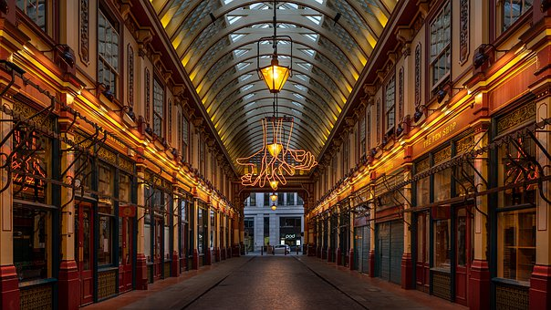 London, Leadenhall Market, Lights, Market, England
