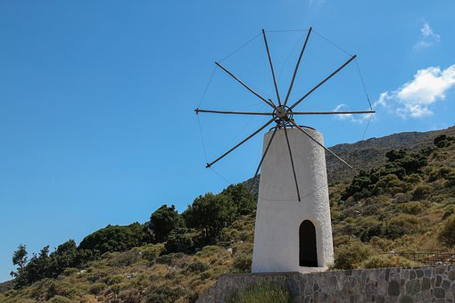Plateau Lassithi, Crete, Mill, Greece, Landscape