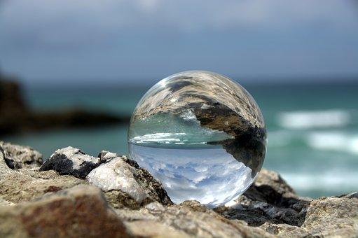 Globe Image, Mirroring, Glass Ball, Mirrored, Cornwall