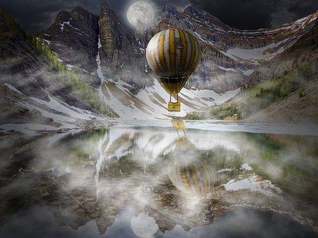 Mountains, Hot Air Balloon, Fog, Moon, Lake, Light