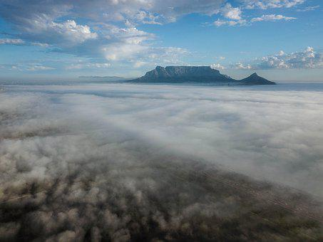 Table-mountain, Aerial, Clouds, Mountain, Landscape