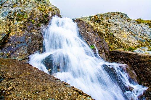 Waterfall, Water, Landscape, Mountain, Sky, Nature, Sea