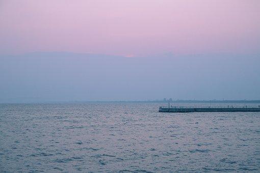 Sea, Purple, Coast, Nature, Ocean, Water, Beach, Sky