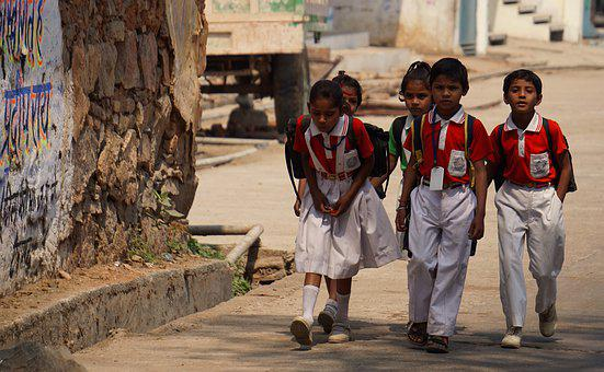Indian Holiday, School Children, Smiling, Uniform