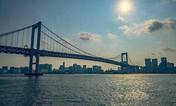 Bridge, Sea, Light, Water, Landscape, Beach, Ocean, Sky