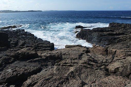 Ocean, Waves, Rocks, Cliff, Sea, Water, Blue, Sky