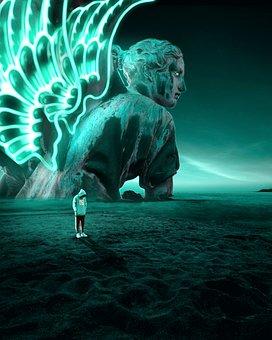 Man, Shadow, Surreal, Fantasy, Statue, Darkness