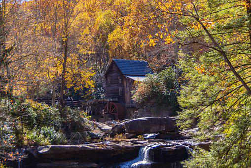 Babcock Wv, Gristmill, Stream, Creek, Landscape, Trees