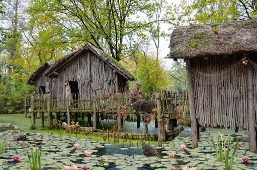 Fisherman, Hut, Village, Man, Swamp, Water, Turtle