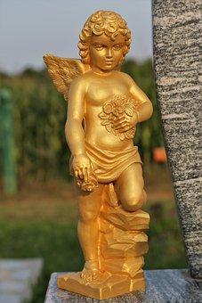 Golden Angel, Wings, Figure, Statue, Sculpture