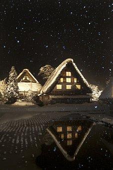 Snow, Shirakawa, Nunohneun Night, 白 川 鄕, Home