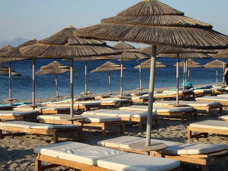 Beach, Kos, Greece, Umbrella, Sunbed, Summer, Sunshine