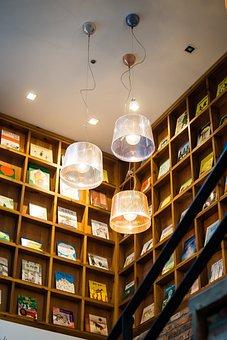 Lamp, Ceiling, Books, Bookshelf, Bright, Light