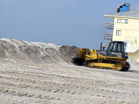 Pensacola Beach, Florida, Bulldozer, Beach, Sand, Sky