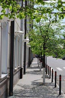 Sidewalk, Street, Clean, Bright, Sunny, Summer, Moscow