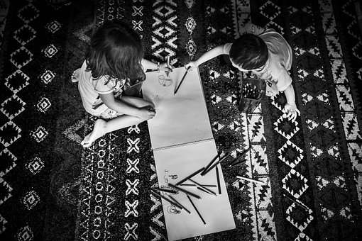 Kids, Playing, Writing, Drawing, Carpet, Colors, Happy