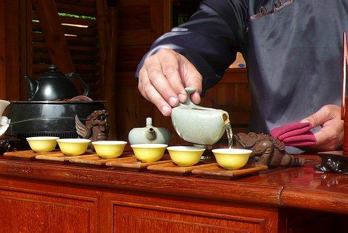 Man, Hands, Tea, Cups, Pouring, Porcelain, Kettle