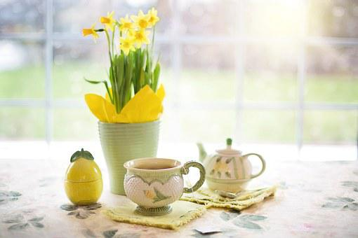 Daffodils, Tea, Tea Time, Cup Of Tea, Spring