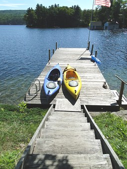 Dock, Summer, Vacation, Kayaks, Lake, Lake Shore