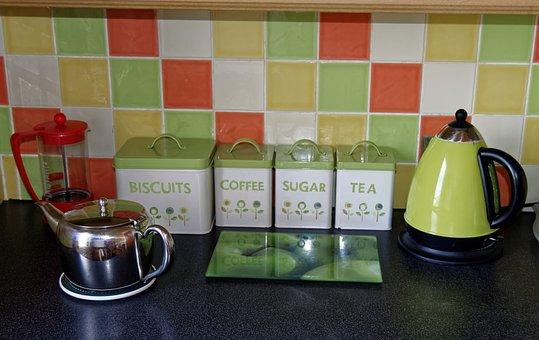Kitchen, Kettle, Tiles, Coffee, Tea, Home, Household