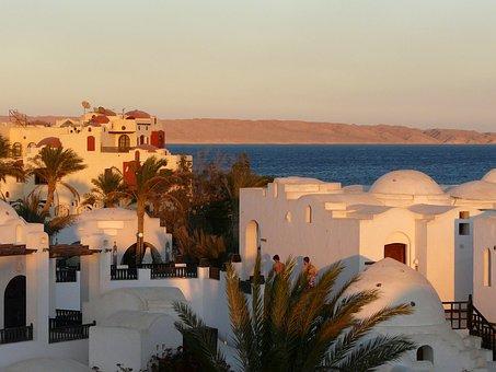 Hurghada, Egypt, Hotel Complex, Abendstimmung, Sunset