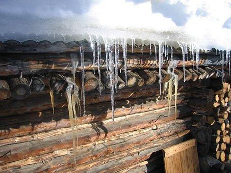 Denali National Park, Alaska, Log Cabin, Ice, Icicles