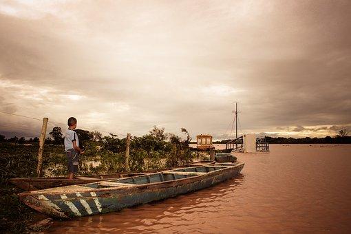 Rio, Flood, Boy, Innocence, Childhood, Boat, Kid, Look