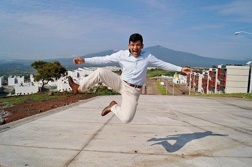 Jump, Man, Happy, Latino, Smiling, Panorama, Joy