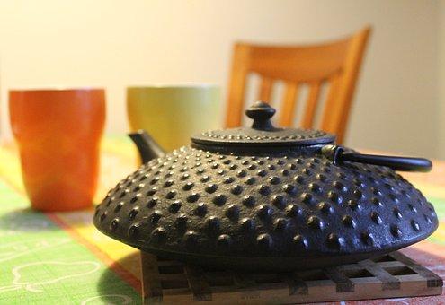 Teapot, Tea, Mugs, Pot, Cast Iron, Cup, Drink, Beverage