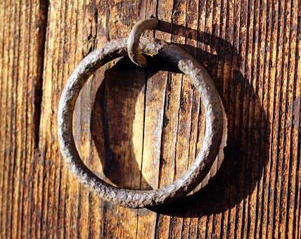 Metal Ring, Fitting, Wooden Door, Old, Stainless