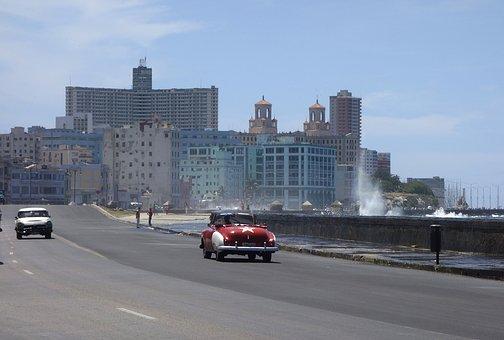 Cuba, Havana, Sea, Surf, Wave, Spray, Oldtimer, Sun