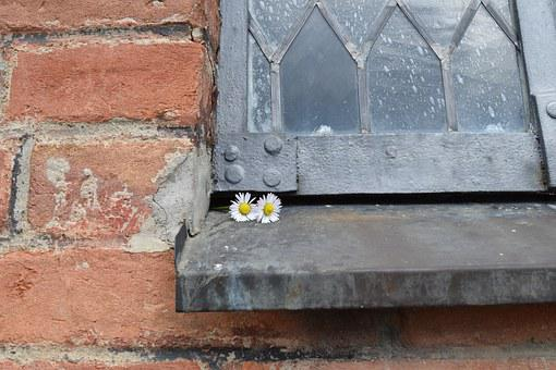 Lead-glass Window, Brick, Section, Close Up, Romantic