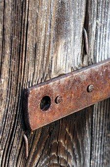 Fitting, Wooden Door, Old, Stainless, Old Wooden Door