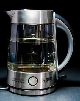 Kettle, Glass Body, Stainless Steel
