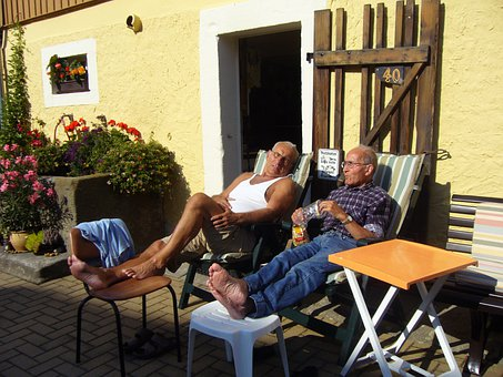 Rest, Seniors, Pensioners, Men, Summer Resort, Farm