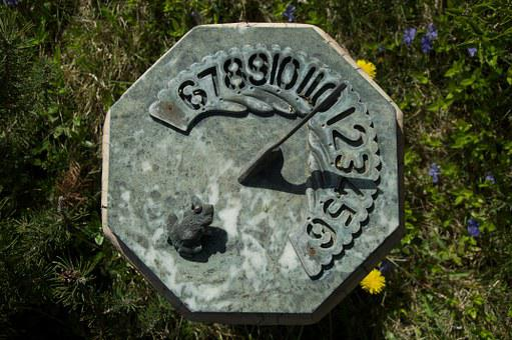 Sundial, Lawn, Landscape, Summer, Stone, Sun, Grass